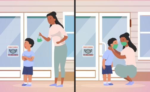 Illustration of child not wanting to wear mask and mom putting mask on child