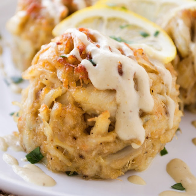Perfect Crab Cakes {with creamy dijon sauce} - Fashionable ...