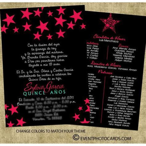 Star quinceanera invitations   Black & Pink