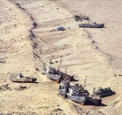 El que fuera el cuarto lago más grane del mundo, el Mar de Aral, a lo largo de las fronteras de Kazajstán y Ubequiztán, en Asia Central, se ha reducido a una fracción de lo que era su tamaño anterior debido al mal manejo de los recursos de agua, incluyendo el desvío a gran escala de los ríos para regar cultivos de exportación. Las consecuencias incluyen serios problemas ecológicos, económicos y de salud.