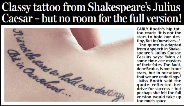 Classy tattoo from Shakespeare's Julius Caesar - but no room for the full version