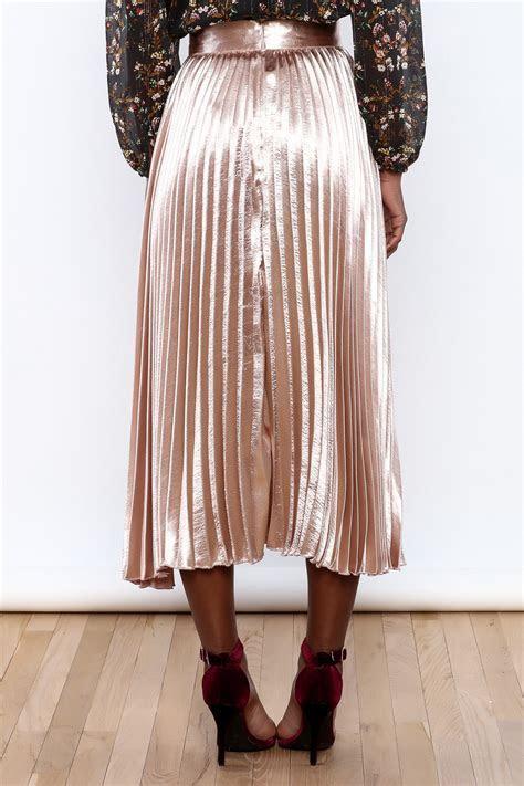 alpha & omega Satin Pleated Midi Skirt from Manhattan by