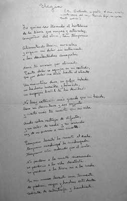 Manuscrito de la «Elegía a Ramón Sijé».