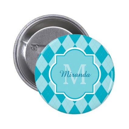 Preppy Turquoise Argyle Girly Monogram and Name Pin