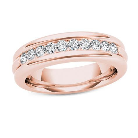 Men's 1/5 CT. T.W. Diamond Groove Wedding Band in 14K Rose