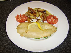 Battered Haddock Fillet with Healthy Option Chips and Salad