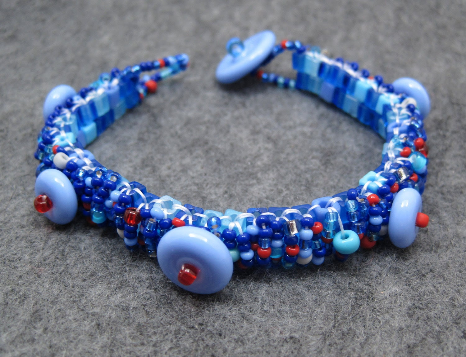 Beaded Cuff Bracelet - Skinny Nautical Blue Red Gray by randomcreative on Etsy - randomcreative