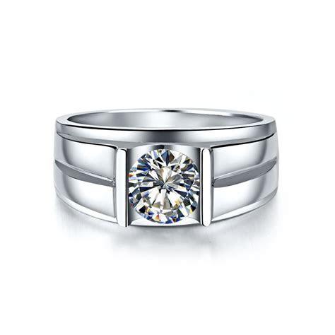 14 KARAT Gold Men Ring Genuine 585 White Gold 1Ct Lab