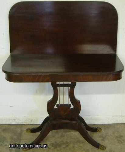 Antique Flame Mahogany Lyre Base Game Table at Antique Furniture.