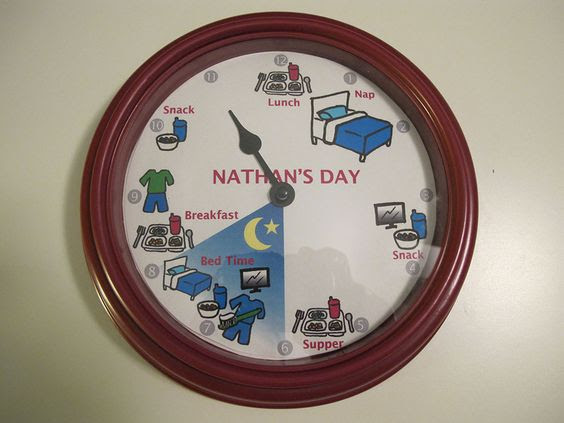 Make a clock with the time and daily schedule. For kids who don
