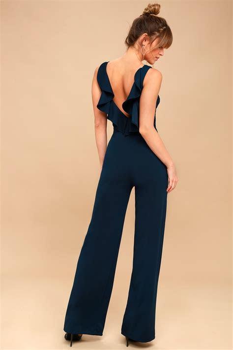 chic jumpsuit backless jumpsuit navy blue jumpsuit