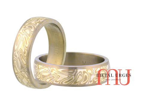 Titanium, 18ct white gold and silver Mokume Gane mens