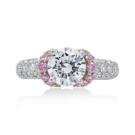 Jack Kelege Diamond Engagement Ring with Pink Diamond