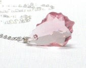 Pink Swarovski Pendant, Sterling Silver Necklace October Birthday, Pink Necklace, Rose, Summer Fashion  - Romantic - CCARIA
