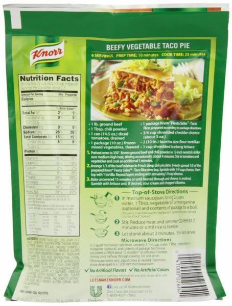 Calories In Knorr Fiesta Sides Taco Rice Nutrition Facts Ingredients And Allergens