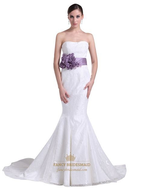 White Lace Mermaid Chapel Train Wedding Dress With Purple