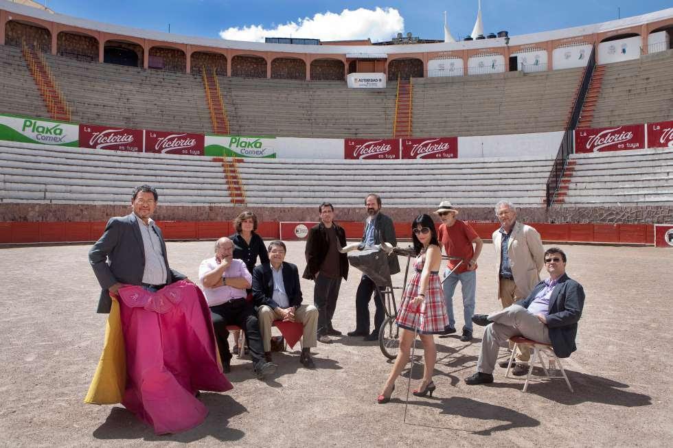 De izquierda a derecha: Élmer Mendoza, Antonio Skármeta, Laura Restrepo, Sergio Ramírez, Alberto Fuguet, Juan Villoro, Wendy Guerra, Fernando Trueba, Héctor Abad y Javier Cercas durante el Hay Festival Zacatecas 2010.