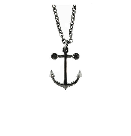 Blackened Silver Anchor Pendant Ancla Black Diamonds For Women