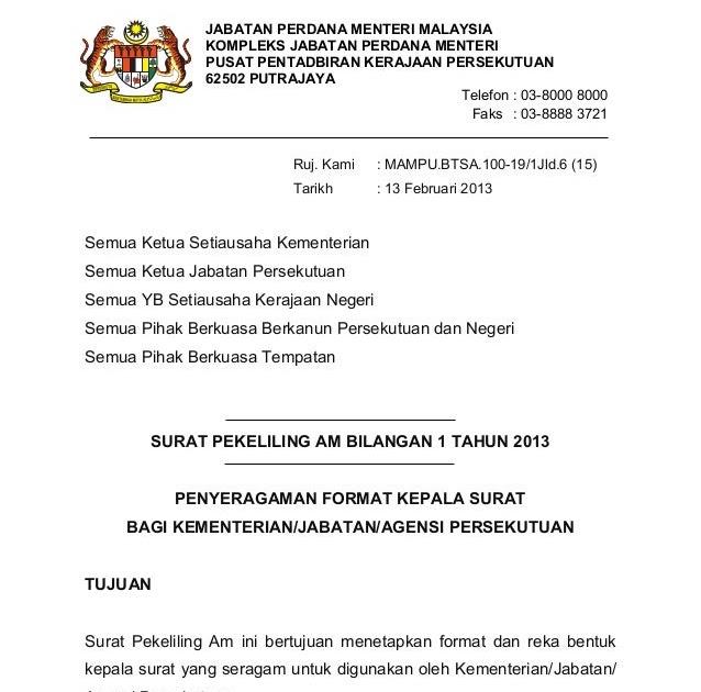 Contoh Surat Rasmi Kepada Perdana Menteri Malaysia