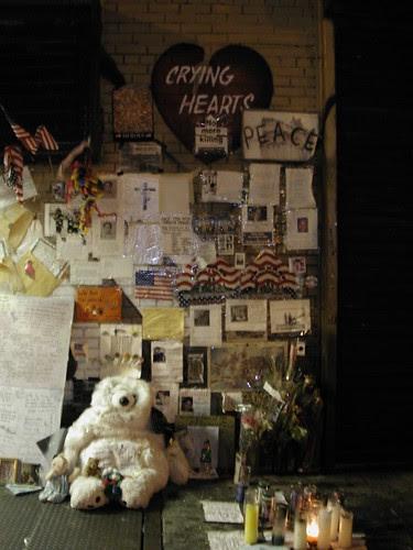 9/11 memorial on sidewalk in the East Village