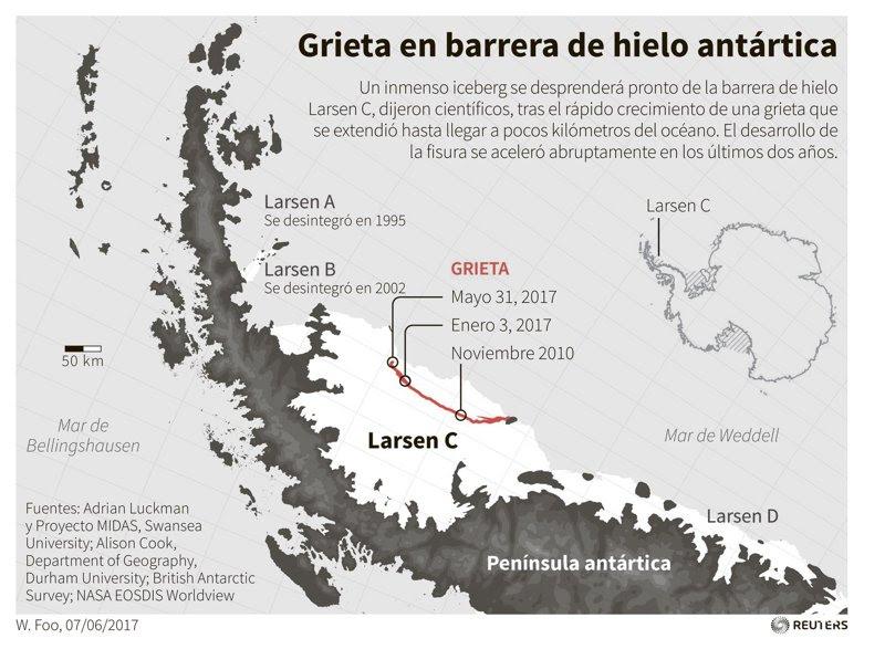 Iceberg dos veces mayor a Luxemburgo se desprende de la Antártida