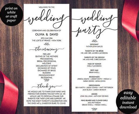Wedding Program Template, Printable Wedding Program, PDF