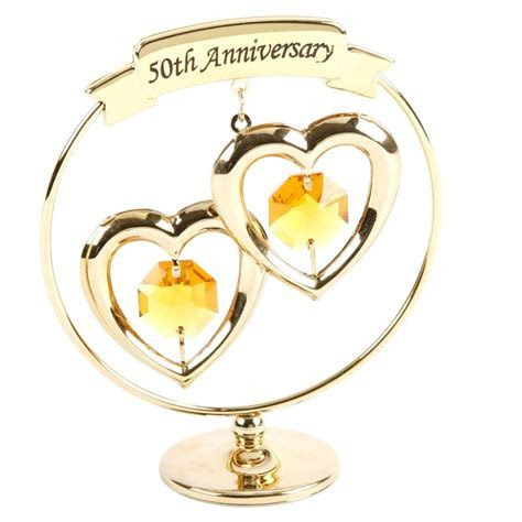 50th Golden Wedding Anniversary Crystal Gift with