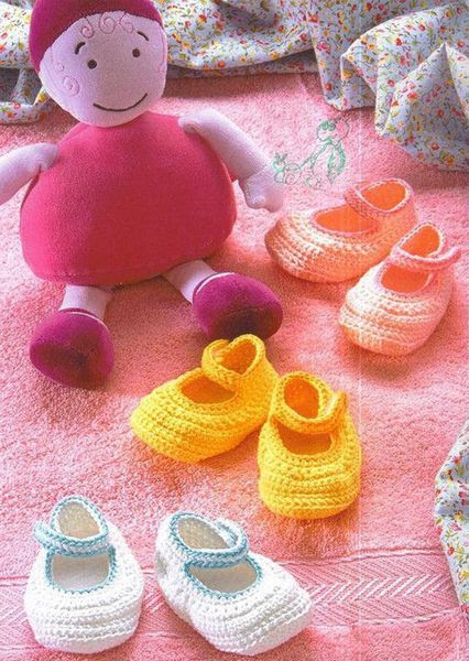 colored slippers for baby and free pattern!