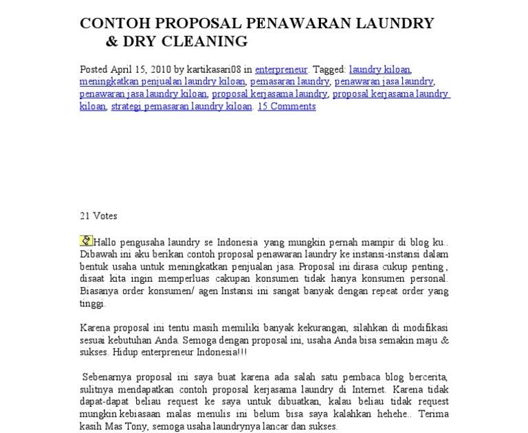 Contoh Proposal Bisnis Plan Laundry Kiloan Berbagi Contoh Proposal