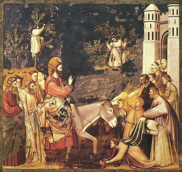 Giotto di Bondone (1267-1337), Cappella Scrovegni a Padova, Life of Christ, Entry into Jerusalem (Wikipedia)