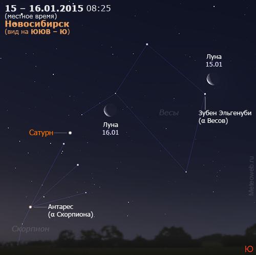Убывающая Луна и Сатурн на утреннем небе Новосибирска 15–16 января 2015 г.