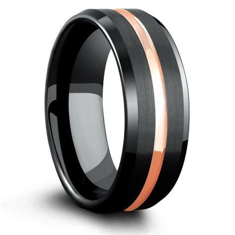 8mm Mens Black Tungsten Wedding Band With Rose Gold Center