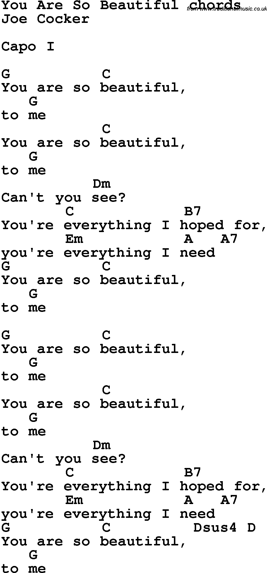 Song Lyrics With Guitar Chords For You Are So Beautiful