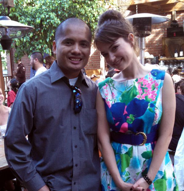 Posing with Milana Vayntrub before a comedy-charity event that she hosted at the Cowboys & Turbans restaurant in Silver Lake, CA...on April 26, 2015.