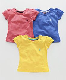 Babyhug Short Sleeves Tops Pack of 3 - Blue Peach Yellow