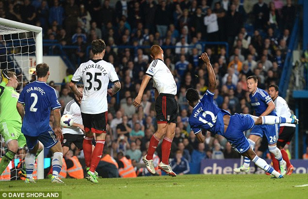 A rarity: John Obi Mikel stretches to score his first goal for 258 matches