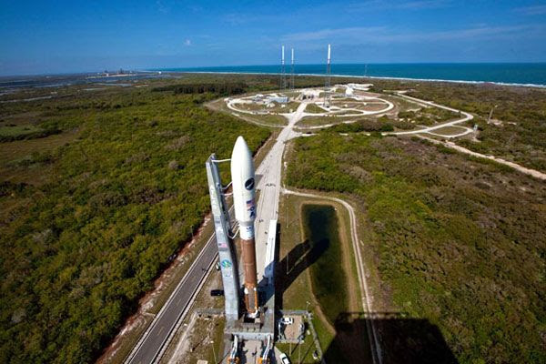 The Atlas V rocket carrying the OTV rolls out to its launch pad at Cape Canaveral Air Force Station in Florida, on March 3, 2011.
