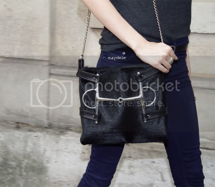Meghan Collison Valentino Haute Couture fall winter 2012/13 carrying the Meghan Horse+Nail bag