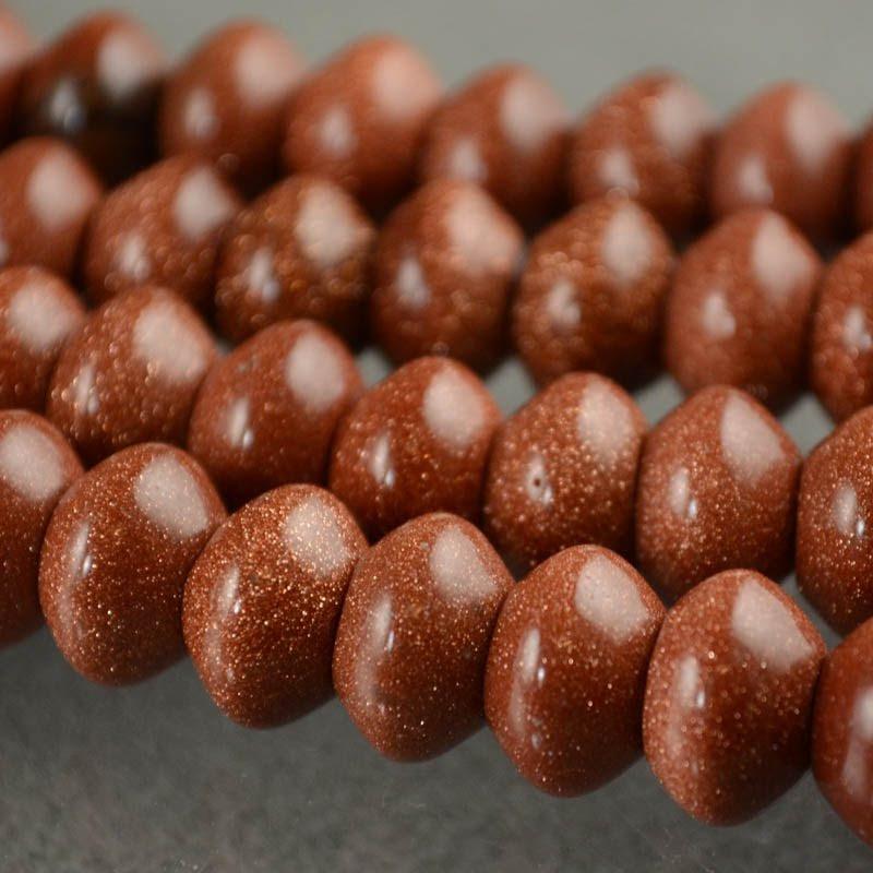 s35783 Stone Beads - 12 mm Big Hole Rondelle Donut - Goldstone (1)