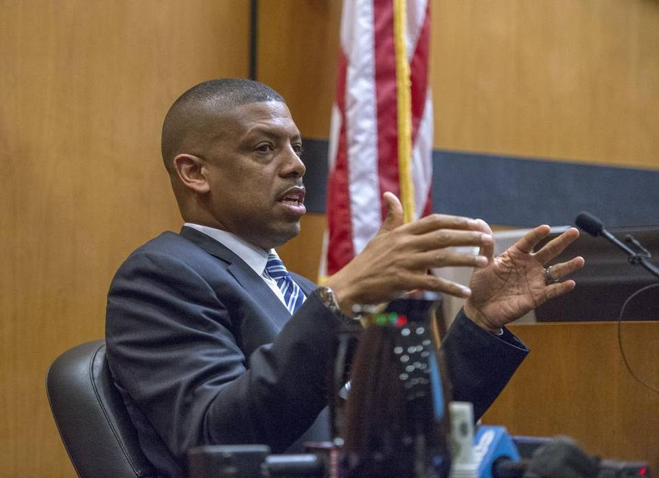 Sacramento Mayor Kevin Johnson testifies in the arena trial on Tuesday, June 30, 2015 in Sacramento.