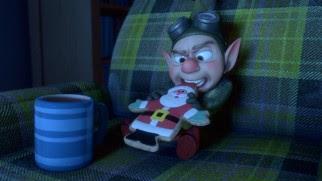Wayne lotte addentando un biscotto stantio Natale.