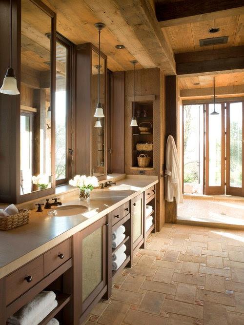rustikale badezimmer mit offener dusche  ideen für die