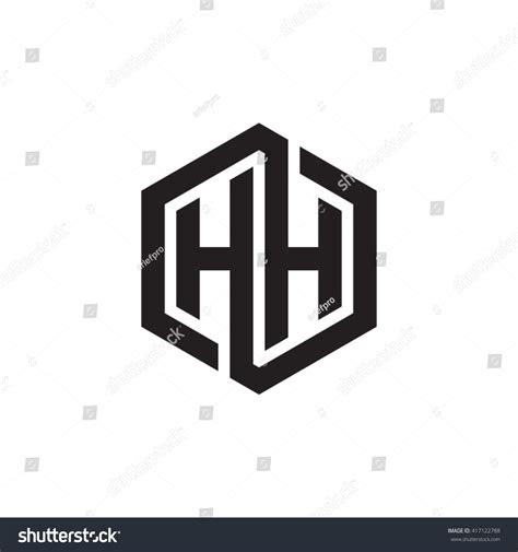 hh initial letters looping linked hexagon stock vector