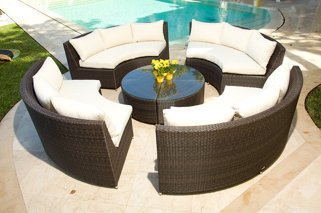 Veranda 5 Piece Resin Wicker Curved Outdoor Sectional w/ Coffee Table
