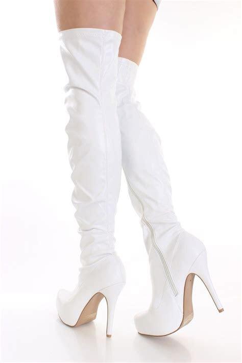 White Thigh High Boots   Cr Boot