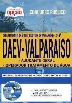Apostila Concurso DAEV Valparaíso 2018 | AJUDANTE GERAL E OPERADOR TRATAMENTO DE ÁGUA