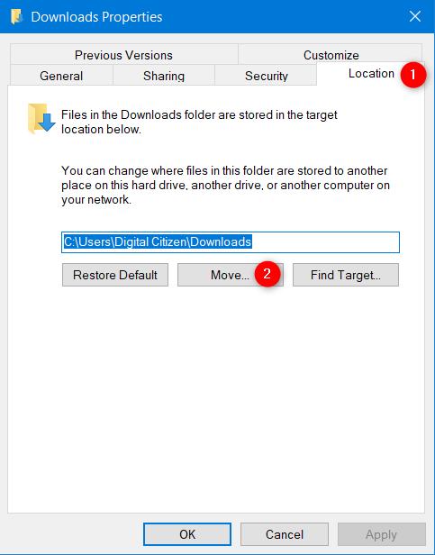 Cómo cambiar la ubicación de la carpeta de Descargas en Windows 10