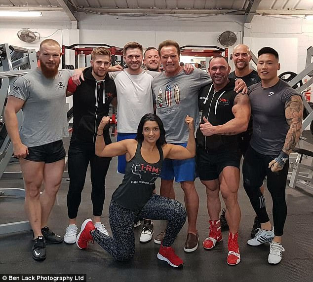 So macho:The Hercules in New York star was seen pumping iron 1RM Elite Personal Studio in Leeds before he happily posed with snaps with fellow gym-goers