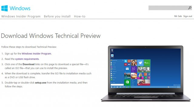 Windows 10 Technical Preview download page