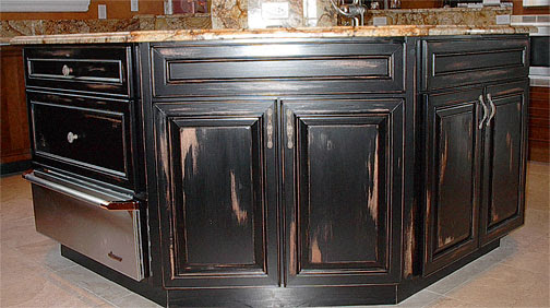 Age and Distress Faux Painting of Kitchen Cabinets ...